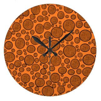 Orange Bubbles Dark Large Clock