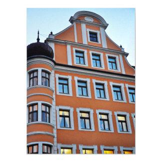 Orange building 17 cm x 22 cm invitation card