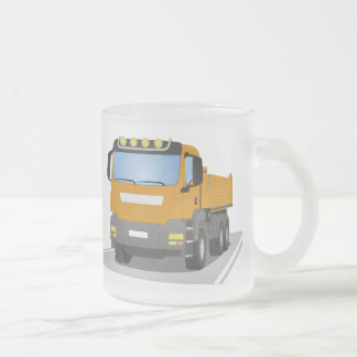 orange building sites truck frosted glass coffee mug