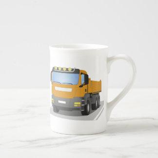 orange building sites truck tea cup