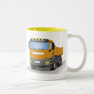 orange building sites truck Two-Tone coffee mug