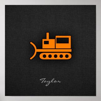 Orange Bulldozer Poster