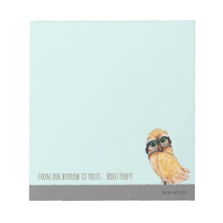 Orange Burrowing Owl Coastal Art Notepad