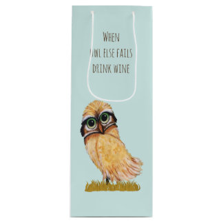 Orange Burrowing Owl Coastal Art Wine Gift Bag