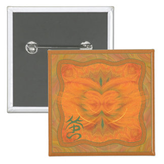 Orange Butterfly Abstract Art 15 Cm Square Badge