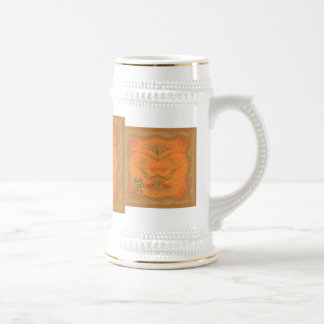 Orange Butterfly Abstract Art Beer Steins
