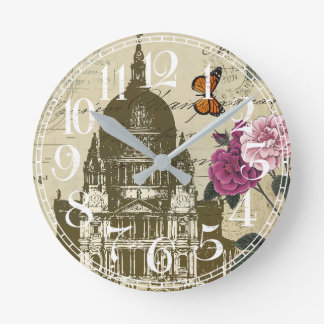 Orange Butterfly and House Print Wall Clock
