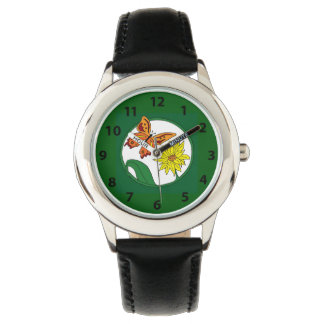 Orange Butterfly and Sunflower Watch