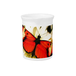 Orange Butterfly Beverage Pitcher