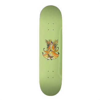 Orange Butterfly Fairy With Flowing Dress 20 Cm Skateboard Deck