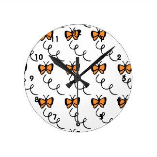 Orange Butterfly Flight Clock