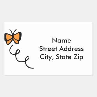 Orange Butterfly Flight Rectangular Sticker