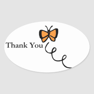 Orange Butterfly Flight Oval Sticker