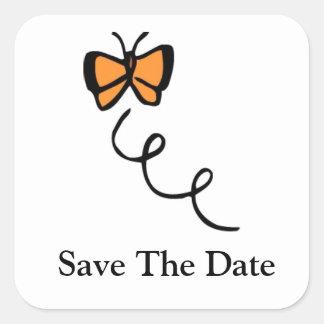 Orange Butterfly Flight Square Sticker