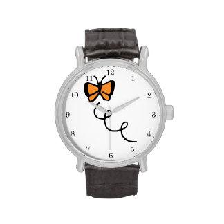 Orange Butterfly Flight Wrist Watch