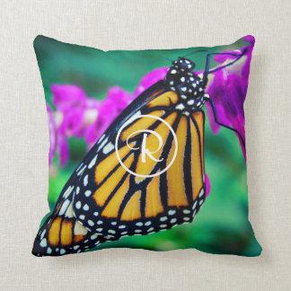 Orange butterfly photo custom monogram pillow