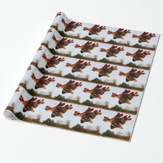 orange Butterfly  with blue spots Wrapping Paper