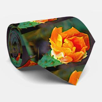 Orange Cactus Bloom Men's Tie