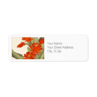 Orange Cactus Botanical Art Return Address Label