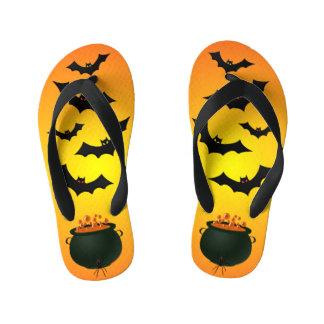 Orange Caldron and Bats Kid's Thongs