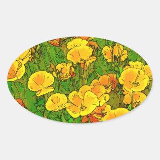 Orange California Poppies 2.2_rd Oval Sticker