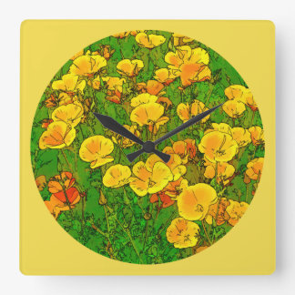 Orange California Poppies 2.2_rd Square Wall Clock