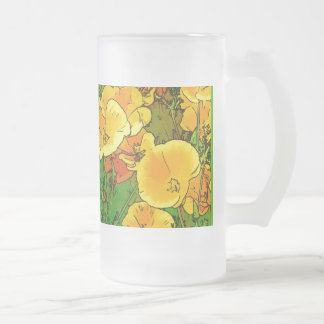 Orange California Poppies 2.5.g Frosted Glass Beer Mug