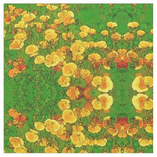 Orange California Poppies Fabric