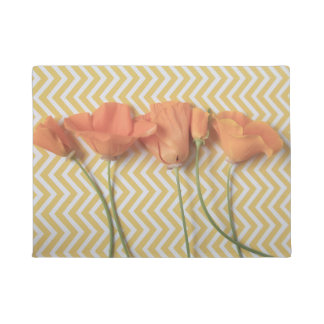 Orange California poppies on chevron surface Doormat