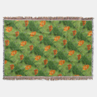 Orange California Poppy Throw Blanket