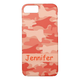 Orange Camo Camouflage Name Personalised iPhone 7 Case