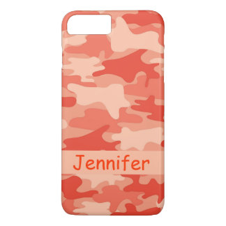 Orange Camo Camouflage Name Personalised iPhone 7 Plus Case