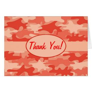 Orange Camo Camouflage Thank You Custom Card
