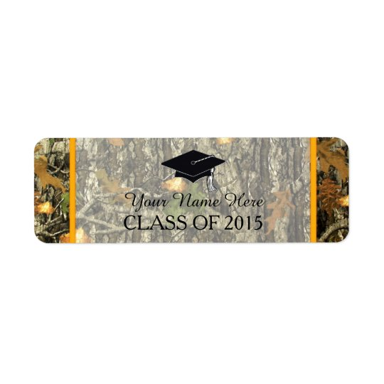 Orange & Camo Graduation Label