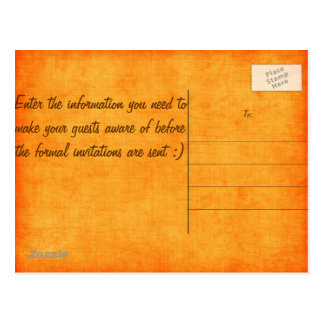 Orange Camo Save the Date! Postcard