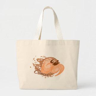 Orange Cancer Horoscope Crab Large Tote Bag