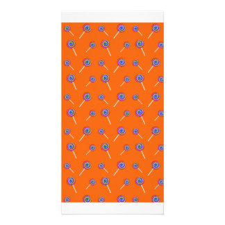 Orange candy pattern photo card template