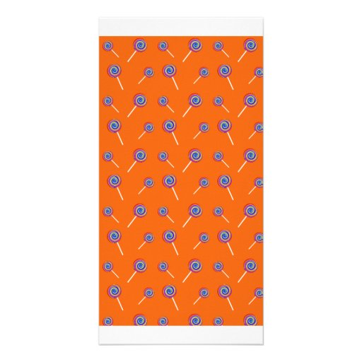 Orange candy pattern photo card template
