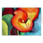 Orange Canna lily original watercolor art Card