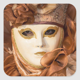 Orange Carnival costume, Venice Square Sticker
