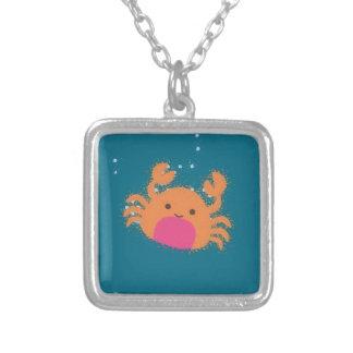 Orange Cartoon Crab Silver Plated Necklace