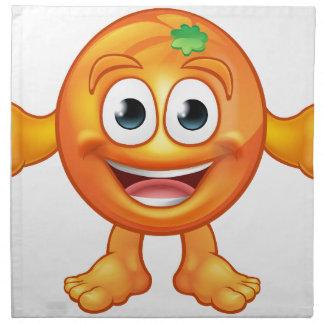 Orange Cartoon Fruit Mascot Character Napkin