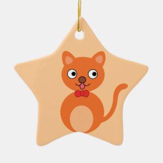ORANGE CARTOON HAPPY CAT CUTE PEACHES FUN PETS ANI CHRISTMAS ORNAMENT