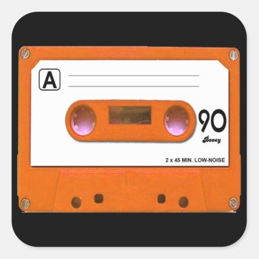 Orange Cassette Tape Square Sticker