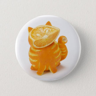 orange cat 6 cm round badge