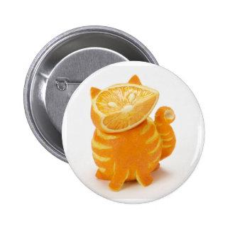 orange cat 6 cm round badge