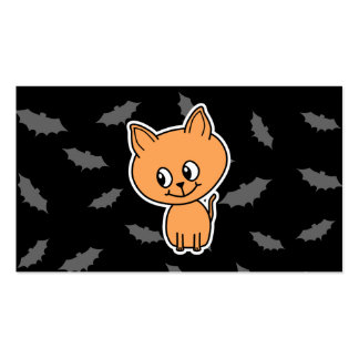 Orange Cat and Bats. Business Card Templates