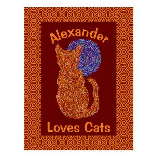Orange Cat And The Moon Cat Lover Feline Kitten Postcard