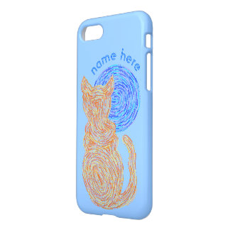 Orange Cat And The Moon iphone7 Add Your Name iPhone 7 Case