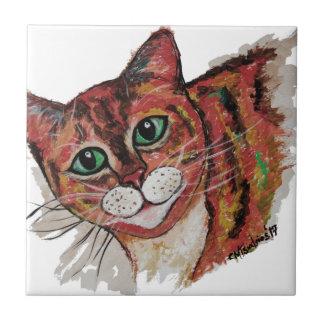 Orange Cat Ceramic Tile
